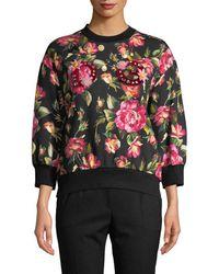 Dolce & Gabbana Embellished Floral Sweatshirt - Black