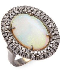 Jyoti New York - 0.613 Tcw Diamond And Oval Opal Ring - Lyst