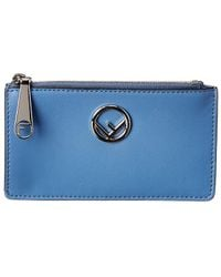 Fendi Leather Card Pouch - Blue