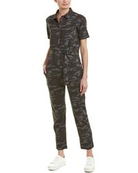 Monrow Belted Camo Jumpsuit - Black
