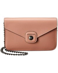 Longchamp Le Pliage Heritage Leather Wallet On Chain - Pink