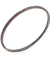 Karma Jewels - Silver & Ruby Bangle Bracelet - Lyst
