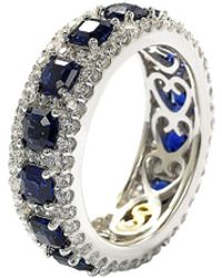 Suzy Levian - Silver 4.33 Ct. Tw. Sapphire Eternity Ring - Lyst