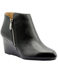 Adrienne Vittadini Meriel Leather Wedge Bootie - Black