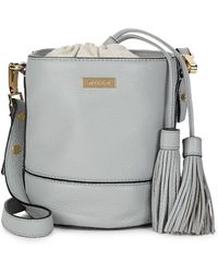MILLY - Tasselled Leather Bucket Bag - Lyst
