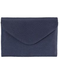 Graphic Image Leather Envelope Clutch - Blue