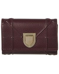 Dior Ama Leather Tri-fold Wallet - Red