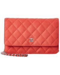 Chanel Red Quilted Caviar Leather Classic Single Flap Wallet On Chain