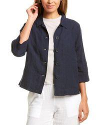 Eileen Fisher Petite Classic Collar Linen Jacket - Blue