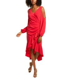 THEIA Crepe Cocktail Dress - Red
