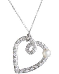 Mikimoto 18k 0.85 Ct. Tw. Diamond & 5-5.5mm Pearl Heart Necklace - Metallic