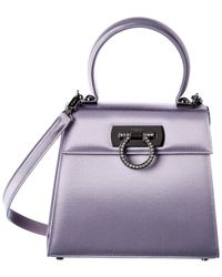 Ferragamo Satin Top Handle Satchel - Purple