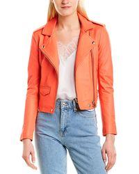 IRO Ashville Leather Biker Jacket - Orange