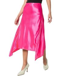Sies Marjan Darby Asymmetric Satin Midi Skirt - Pink