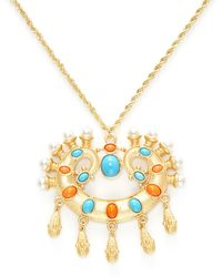 Kenneth Jay Lane   Resin & Pearl Pendant Necklace   Lyst