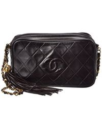 Chanel Black Quilted Lambskin Leather Small Diamond Cc Camera Bag