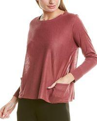 Eileen Fisher Bateau Neck Box Linen-blend Top - Pink