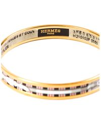 Hermès Gold-plated Narrow Enamel Bangle - Metallic