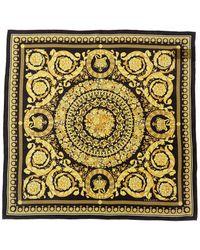 Versace Barocco Print Silk Scarf - Yellow