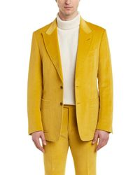 Tom Ford Shelton 2pc Linen-blend Suit With Flat Pant - Yellow
