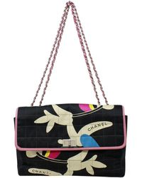 Chanel Limited Edition Black Multicolor Quilted Canvas Chocolate Bar Reissue Jumbo Single Flap Bag