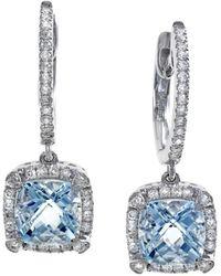 Effy 14k 1.96 Ct. Tw. Diamond & Aquamarine Earrings - Blue