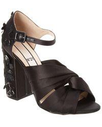 N°21 Embellished Satin Knot Sandal - Black