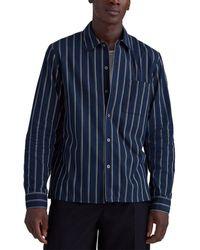Club Monaco Standard Fit Mini Stripe Shirt - Blue