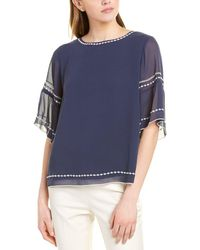 Vince Camuto Embroidered Bell-sleeve Top - Blue