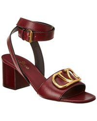 Valentino Vlogo 60 Leather Ankle Strap Sandal - Red