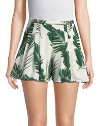 C/meo Collective Palm Print Pleated Shorts - Green