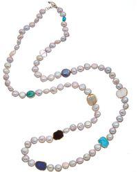 Alanna Bess Spring Silver Gemstone 4-5mm Pearl Necklace - Metallic