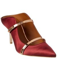 Malone Souliers Maureen 70 Satin & Leather Pump - Red