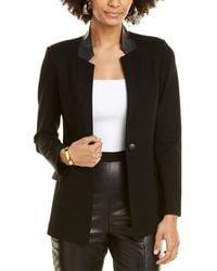 St. John Milano Leather-trim Blazer - Black