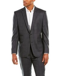 Vince Camuto Charcoal Plaid Wool Slim Fit 2-piece Suit - Gray