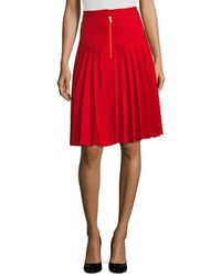 Manoush Jupe Basic Pleated Skirt - Red