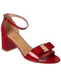 Ferragamo Vara Patent Ankle Strap Sandal - Red