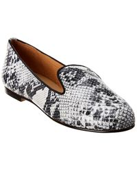 French Sole Tokyo Snake-embossed Leather Loafer - Black