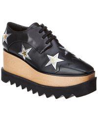 Stella McCartney Elyse Star Cut-out Platform Oxford Trainer - Black