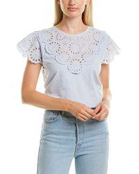 J.Crew Lace Scalloped T-shirt - Blue
