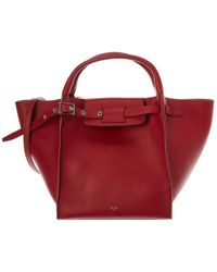Céline Small Big Bag Leather Tote - Red