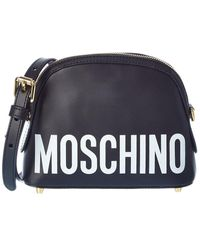 Moschino Logo Leather Shoulder Bag - Black