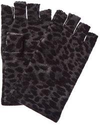 Sofia Cashmere Leopard Fingerless Gloves - Grey