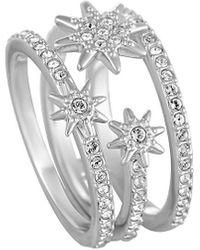 Swarovski Crystal Rhodium Plated Set Of Rings - Metallic