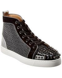 Christian Louboutin Lou Spikes Orlato Leather Sneaker - Black