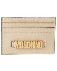 Moschino Leather Card Holder - Natural