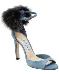 Jimmy Choo Suri 100 Suede Pompom Sandal - Blue