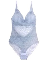 Samantha Chang All-lace Glamour Bodysuit - Blue