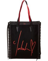 Christian Louboutin Small Cabalace Braided Canvas Shopper - Black