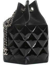 Chanel 2014 Limited Edition Black Quilted Patent Leather Runway Mini Bucket Bag
